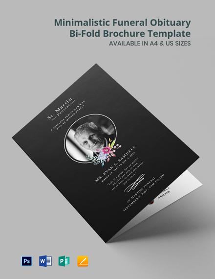 Minimalistic Funeral Obituary Bi-Fold Brochure Template