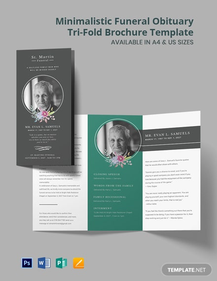 Minimalistic Funeral Obituary Tri-Fold Brochure Template