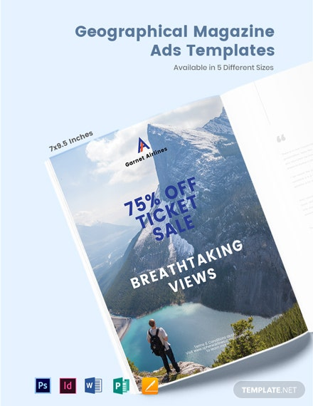 Free Geographical Magazine Ads Template
