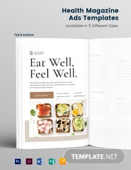 Health Magazine Ads Template