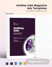Free Holiday Sale Magazine Ads Template