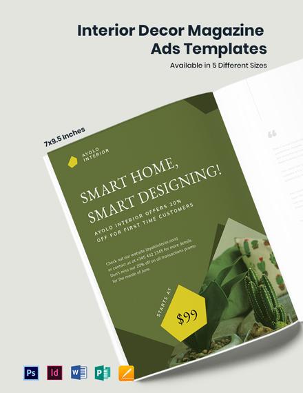 Free Interior Decor Magazine Ads Template