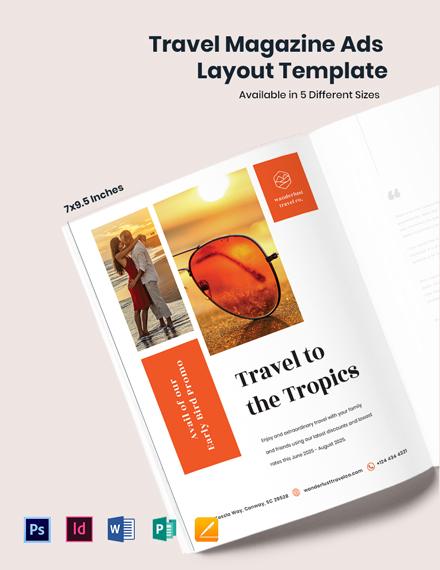 Free Travel Magazine Ads Layout Template