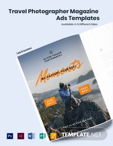 Free Travel Photographer Magazine Ads Template