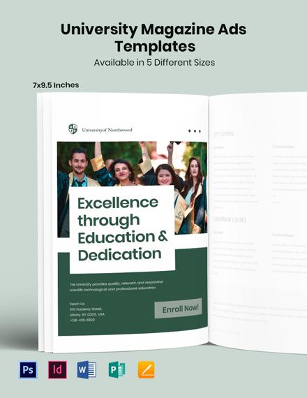 Free University Magazine Ads Template