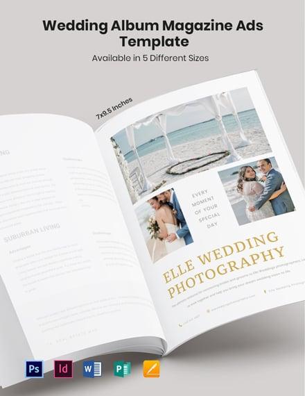 Free Wedding Album Magazine Ads Template