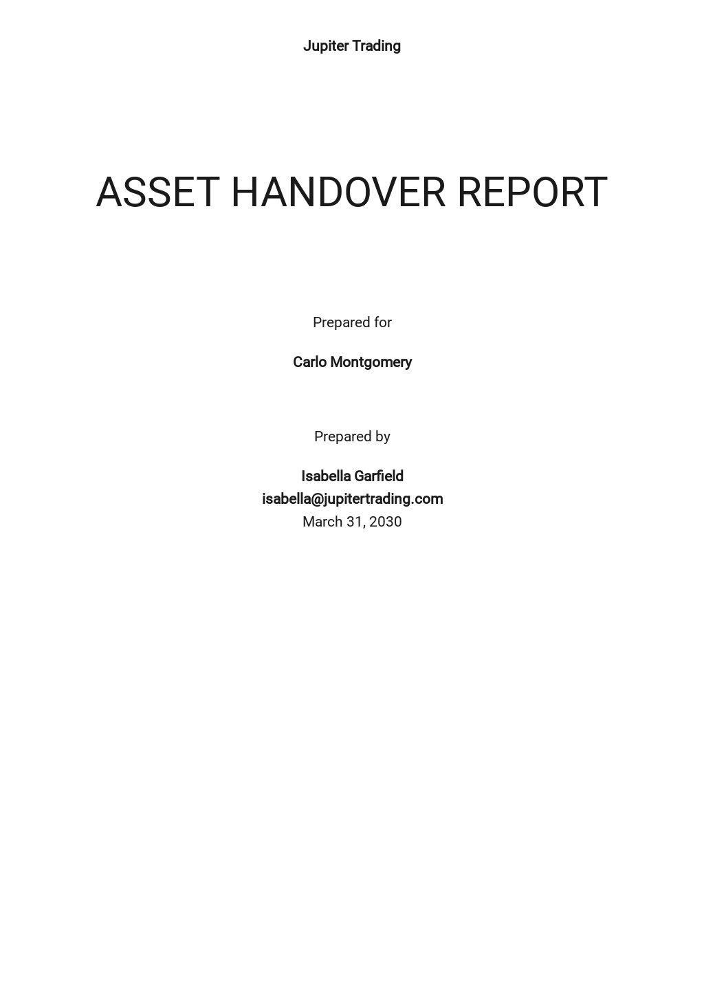 Free Asset Handover Report Template