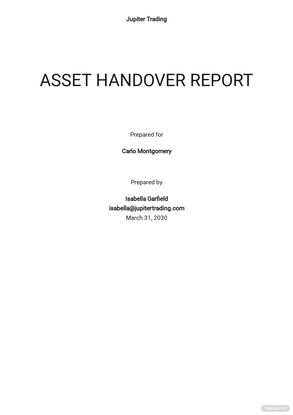 Free Asset Handover Report Template.jpe