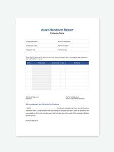 Asset Handover Report Template