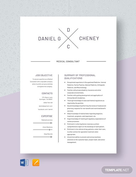 Medical Consultant Resume Template