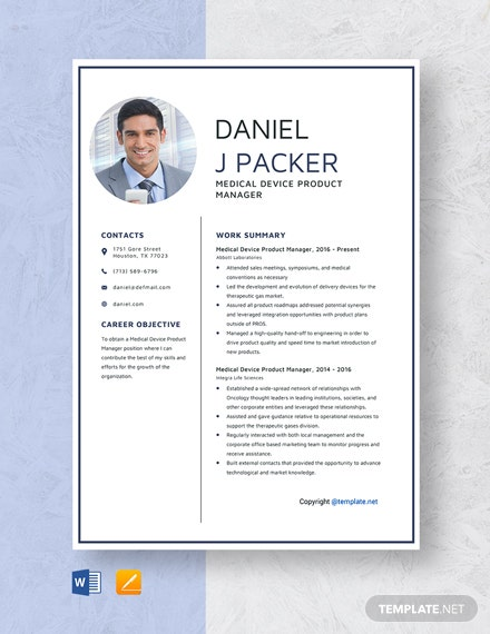 Free Medical Device Product Manager Resume Template
