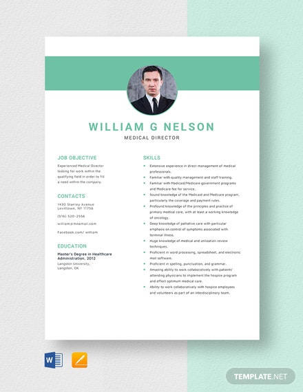 Medical Director Resume Template