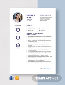 Free Greenhouse Manager Resume Template