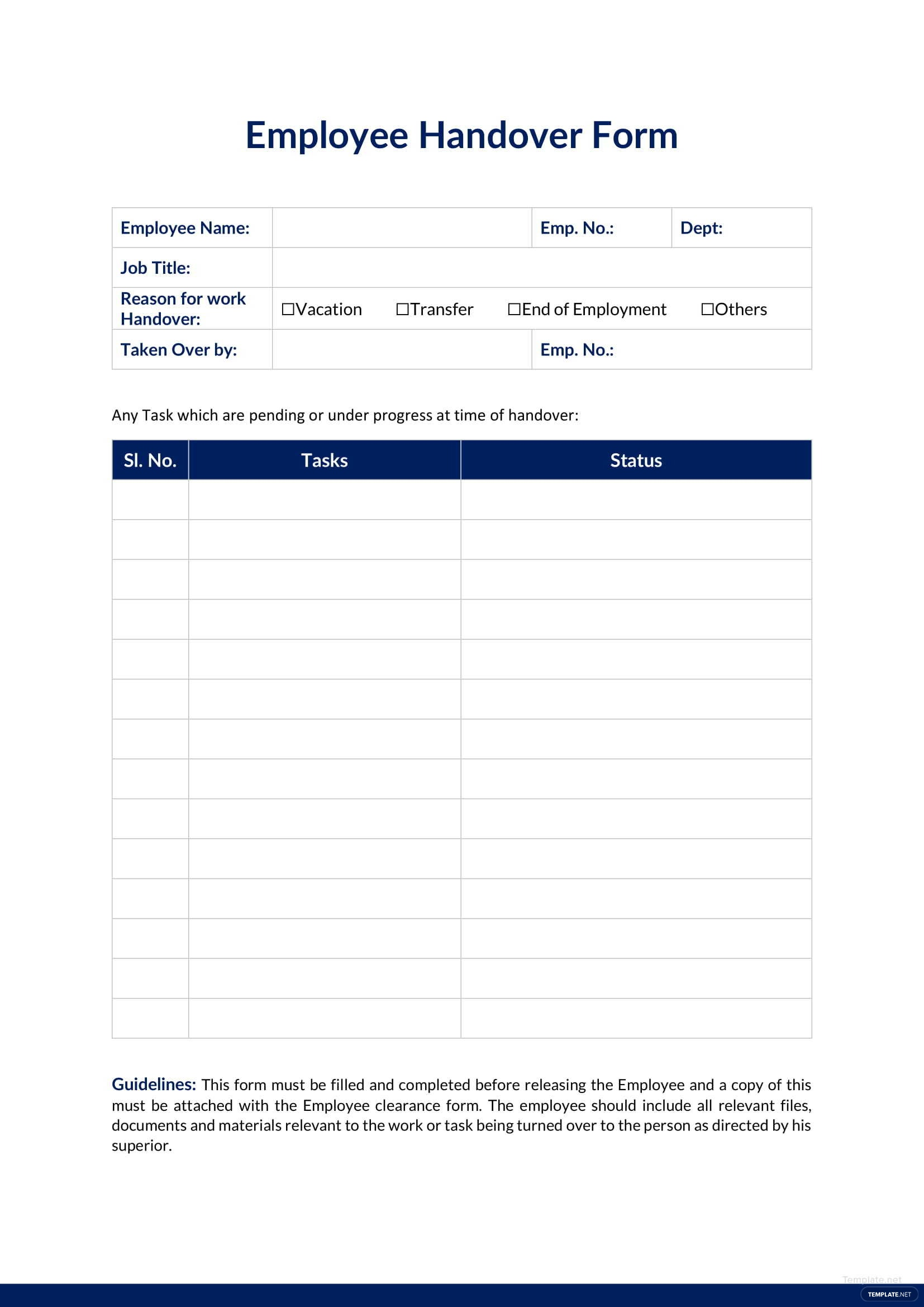Employee handover report template in microsoft word apple for Job handover checklist template