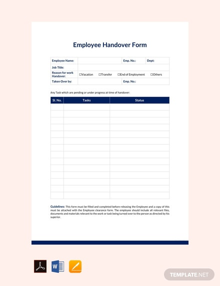 free employee handover report template  download 542