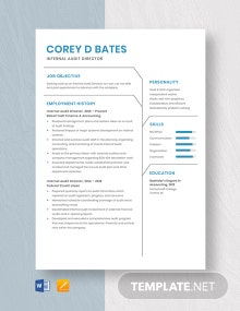 Internal Audit Director Resume Template