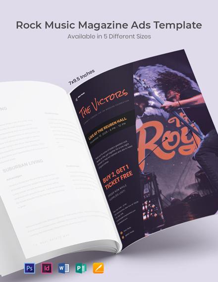 Rock Music Magazine Ads Template