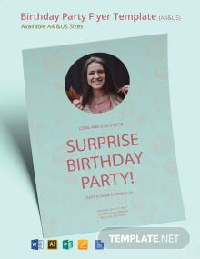 Surprise Birthday Party Flyer Template