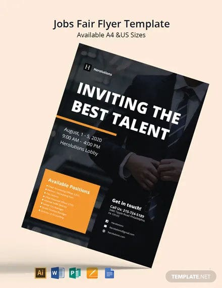 Free Modern Job Fair Flyer Template