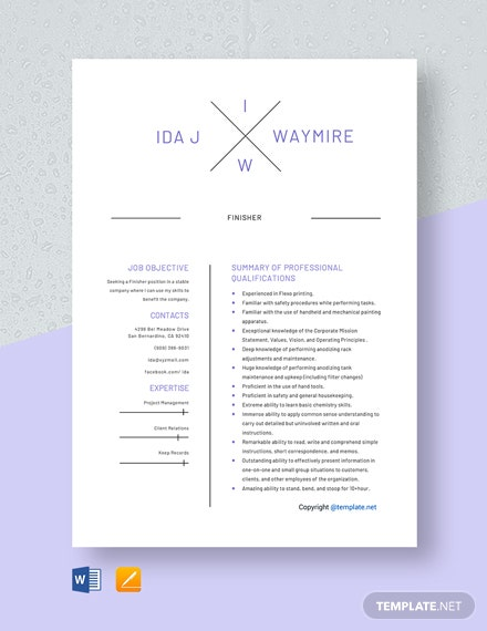 Free Finisher Resume Template