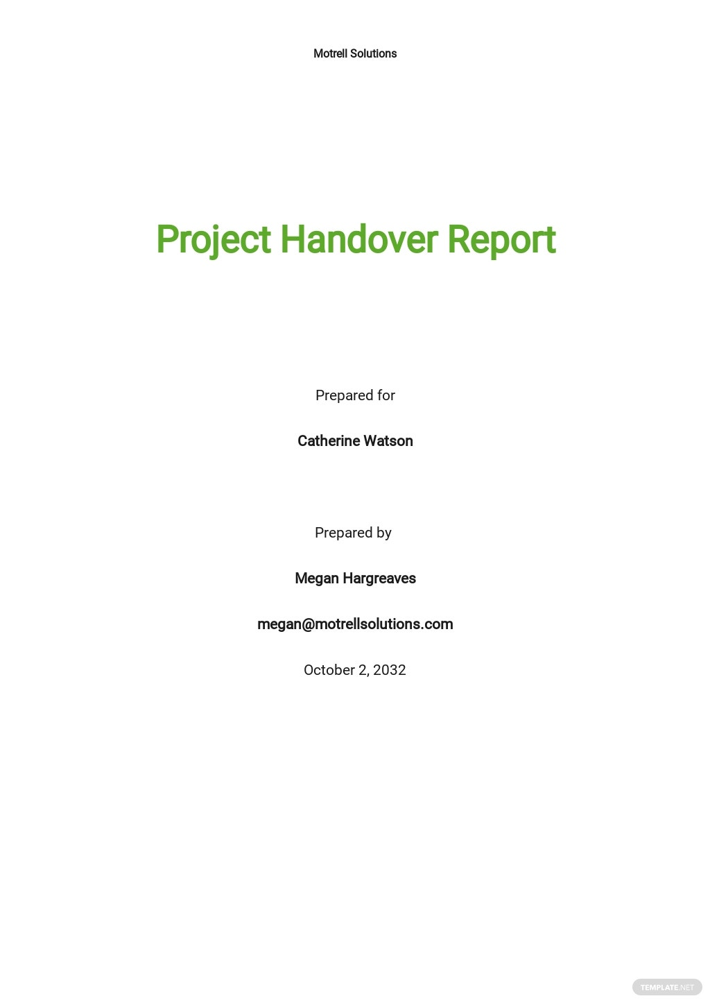 Project Handover Report Template