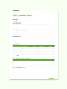 Project Handover Report Template