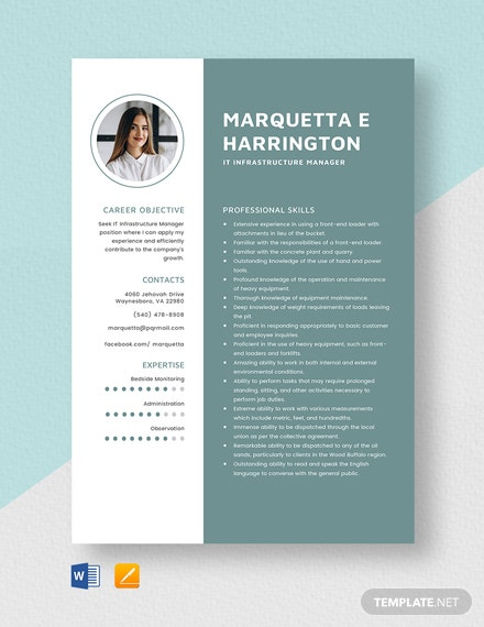 IT Infrastructure Manager Resume Template