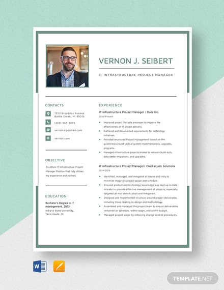 IT Infrastructure Project Manager Resume Template