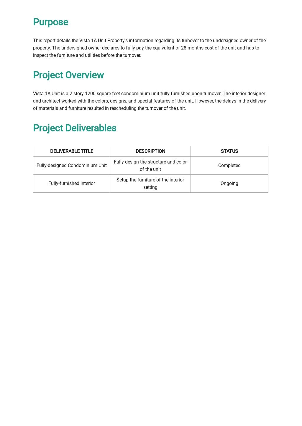Free Property Handover Report Template 1.jpe