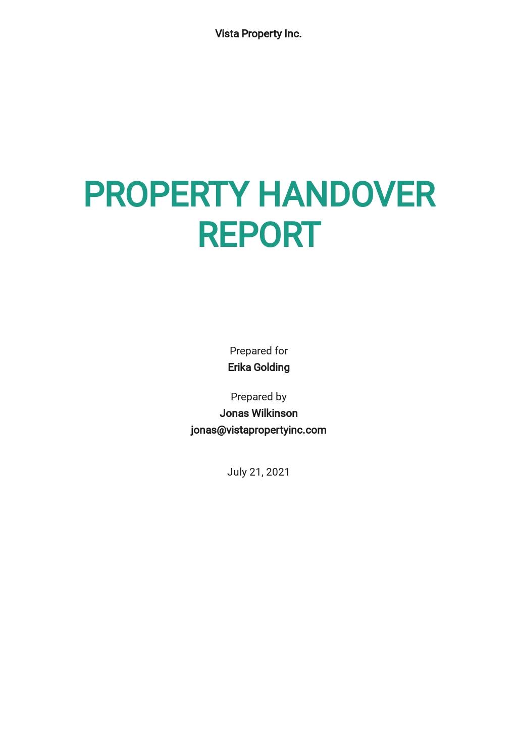 Free Property Handover Report Template.jpe