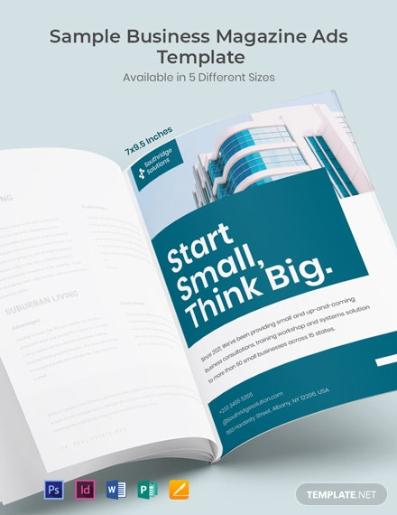 Free Sample Business Magazine Ads Template
