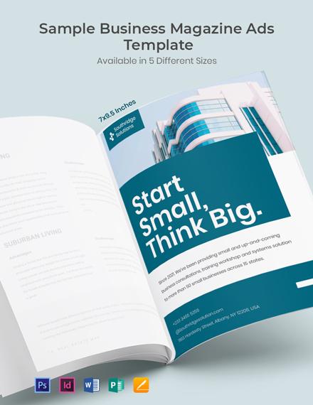 Free Sample Business Magazine Ads Template