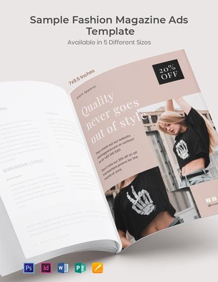 Free Sample Fashion Magazine Ads Template