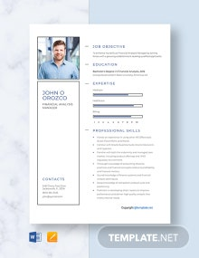 Free Financial Analysis Manager Resume Template