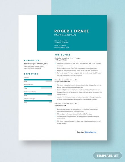 Financial Associate Resume Template