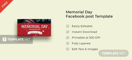 Memorial Day Facebook Post Template