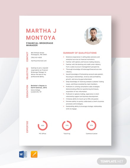 Financial Brokerage Manager Resume Template