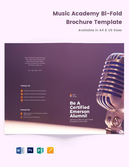 Music Academy Bi-Fold Brochure Template