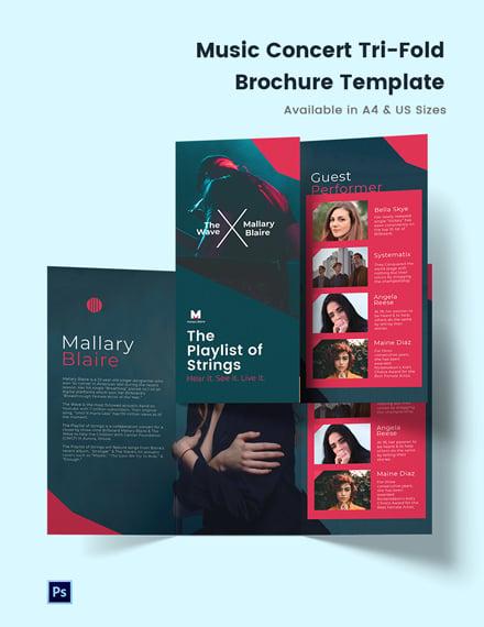 Music Concert Tri-Fold Brochure Template
