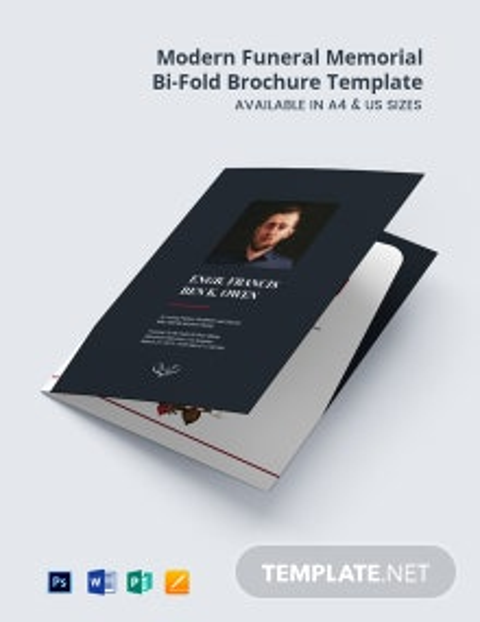 Free Modern Funeral Memorial Bi-Fold Brochure Template