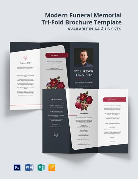 Free Modern Funeral Memorial Tri-Fold Brochure Template