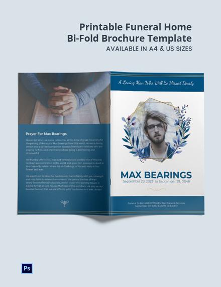 Free Printable Funeral Home Bi-Fold Brochure Template