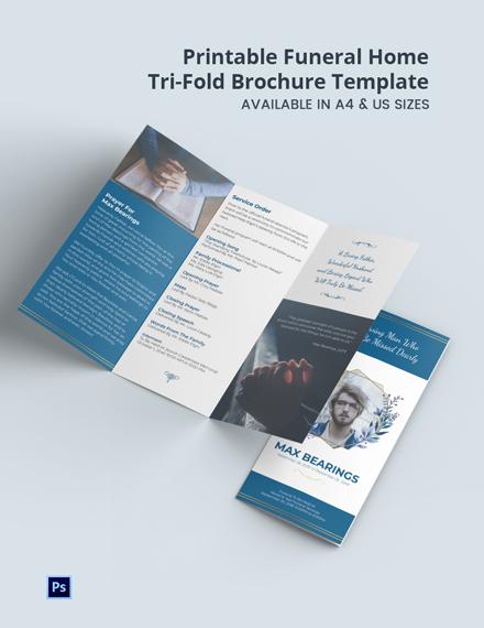 Free Printable Funeral Home Tri-Fold Brochure Template