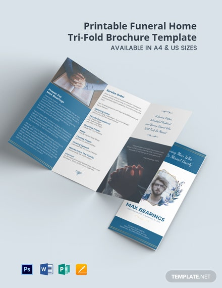 Free Printable Funeral Home Tri-Fold Brochure Template