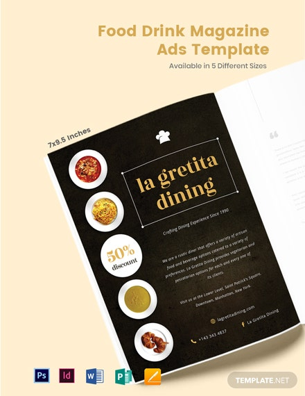Free Food & Drink Magazine Ads Template