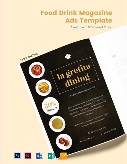 Food & Drink Magazine Ads Template