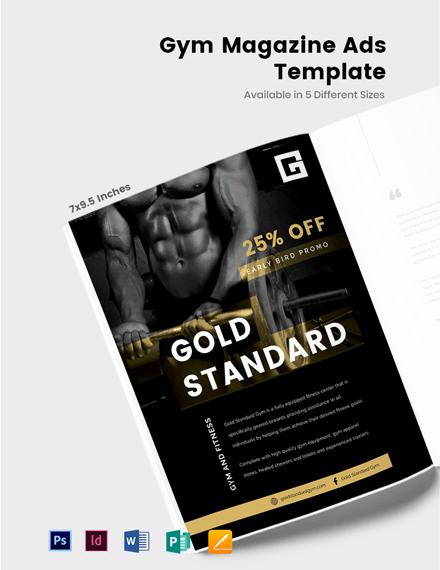 Free Gym Magazine Ads Template