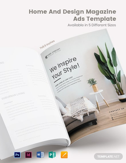 Free Home And Design Magazine Ads Template
