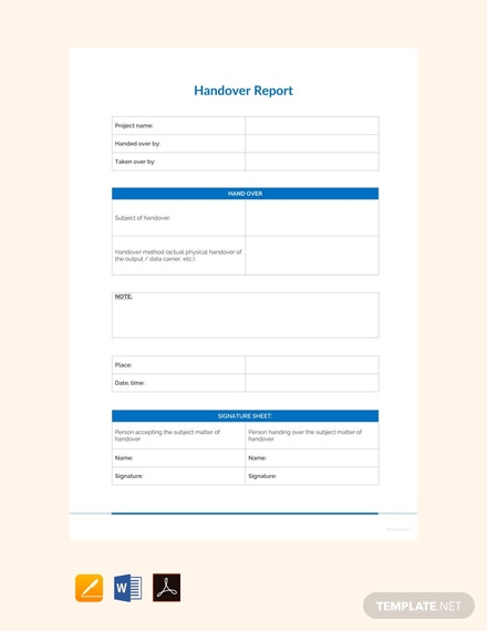 free sample handover report template 440x570 1