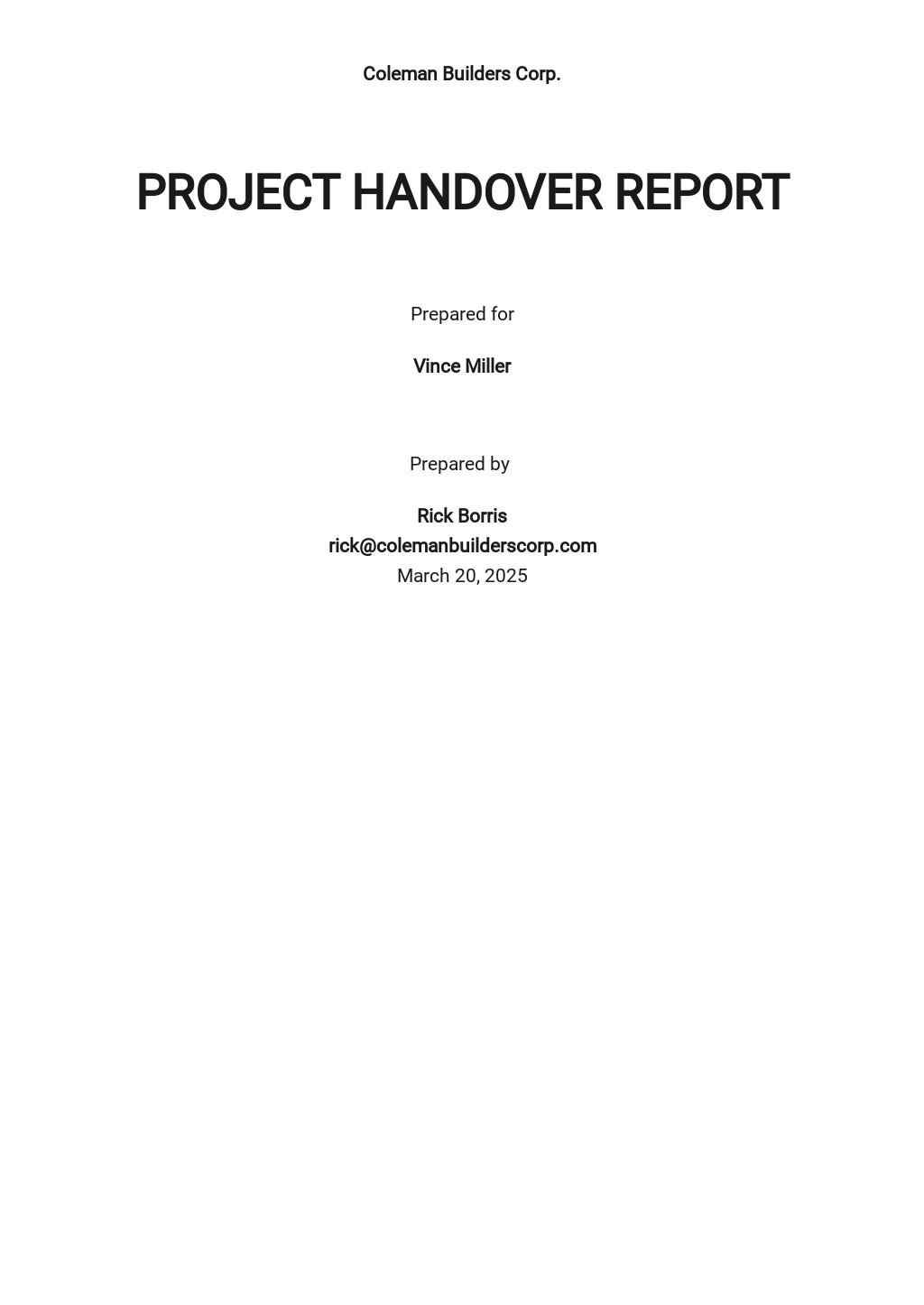 Free Sample Handover Report Template.jpe